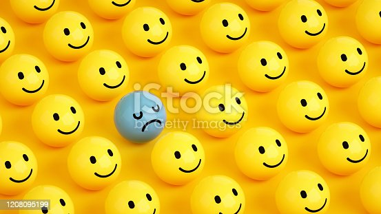 3d rendering of emoji with smiley faces and one sad face. large group of objects. yellow background.