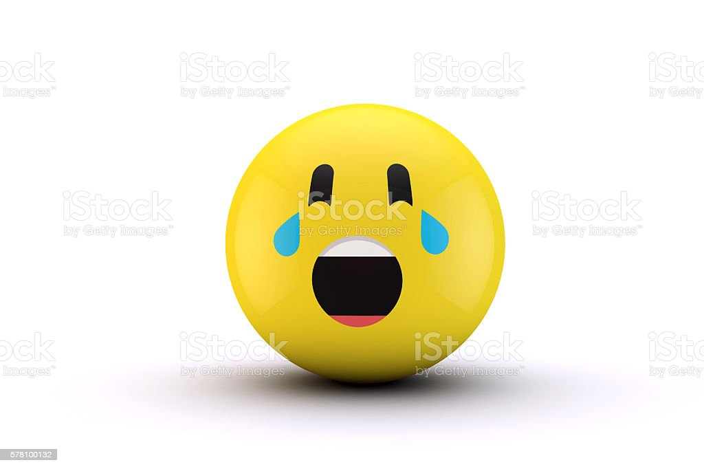 3D emoji yellow character ball stock photo