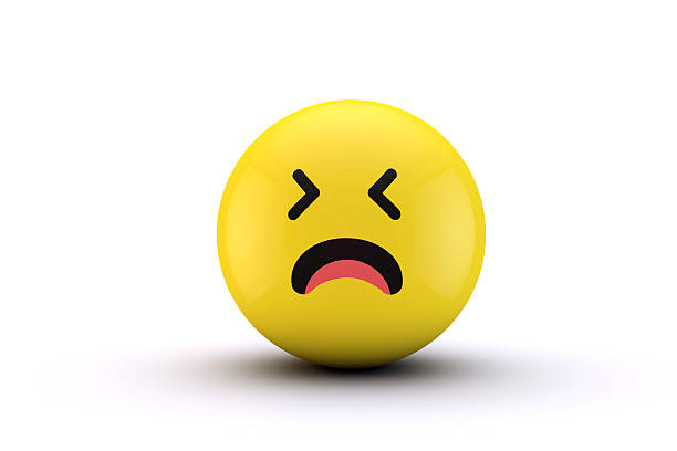 3d emoji yellow character ball - sad cartoon images stock photos and pictures