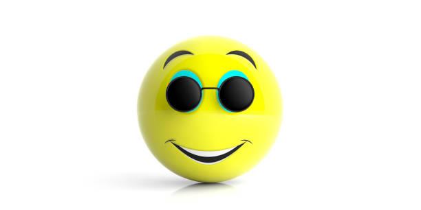 emoji siyah yuvarlak güneş gülümseyen sarı beyaz bir arka plan üzerinde izole. 3d çizim. - gif stok fotoğraflar ve resimler