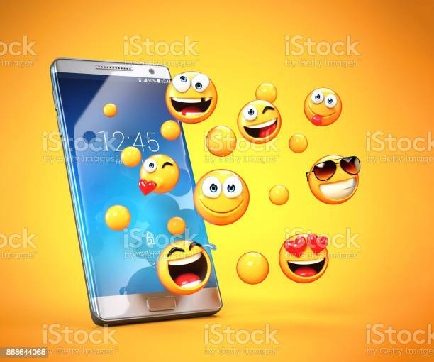 Emojis around mobile phone smart phone messaging with emoticons 3d picture id868644068?b=1&k=6&m=868644068&s=612x612&h=lxpmxhxbhkgjl0adu7zyttsjvw kzzmtt6gadeo5h6g=