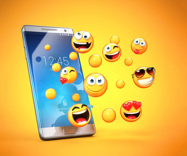 emojis around mobile phone, smart phone messaging with emoticons 3d rendering - emoticons stock photos and pictures