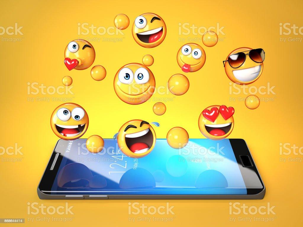 Emojis around mobile phone smart phone messaging with emoticons 3d emojis around mobile phone smart phone messaging with emoticons 3d rendering royalty free stock biocorpaavc