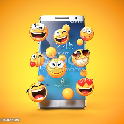 istock Emojis around mobile phone, smart phone messaging with emoticons 3d rendering 868644650