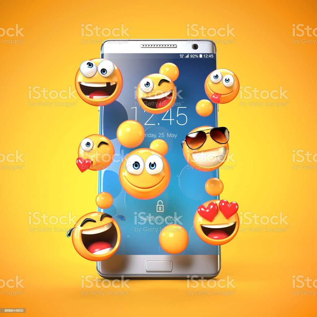 Emojis around mobile phone, smart phone messaging with emoticons 3d rendering stock photo