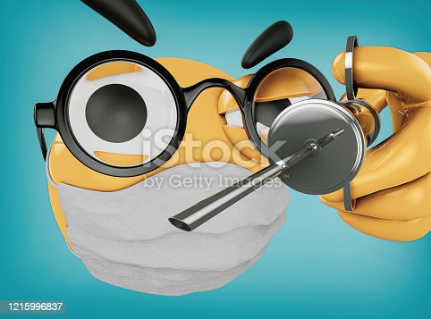 istock Emoji's Doctor is making injection and is wearing glasses and an antiviral mask on face 1215996837