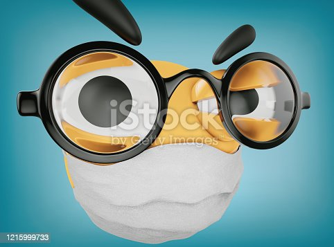 istock Emoji's Doctor is making injection and is wearing glasses and an antiviral mask on face 1215999733
