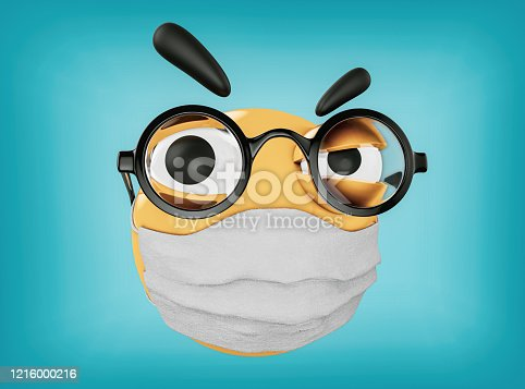 istock Emoji's Doctor is making injection and is wearing glasses and an antiviral mask on face 1216000216
