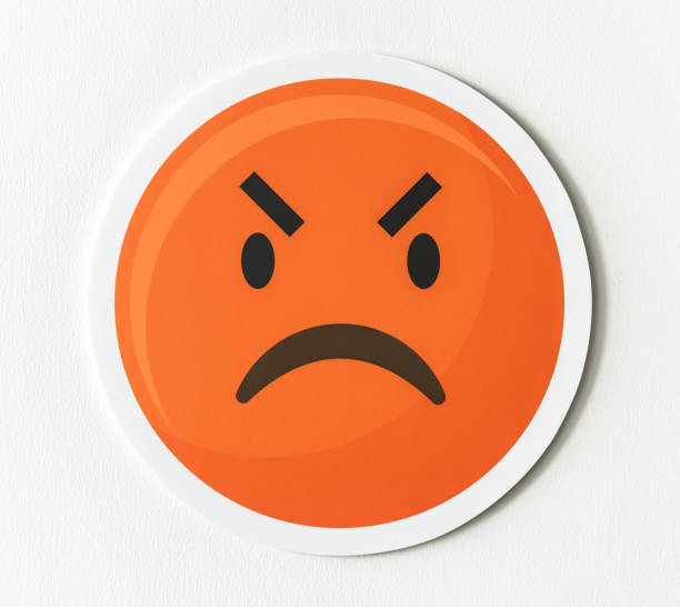 Emoticon emoji angry face icon stock photo