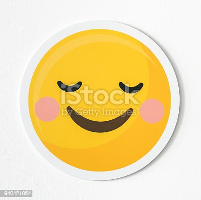 Emoticon happiness and shy icon