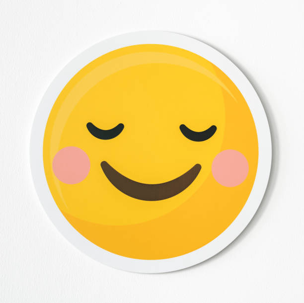 Emoticon happiness and shy icon stock photo