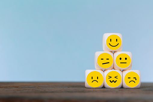 Emoticon icons face on Wooden Cube , Costumer service concept