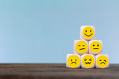 istock Emoticon icons face on Wooden Cube , Costumer service concept 1163339325