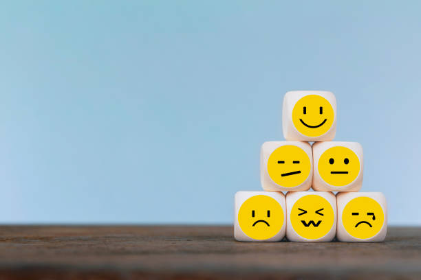 emoticon icons face on wooden cube , costumer service concept - conceptual symbol stock pictures, royalty-free photos & images