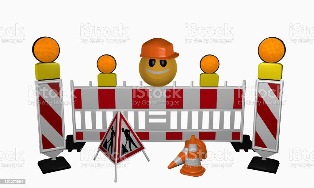 Emoticon mit Leitbaken, Sicherheitsabsperrung, Warnlicht, Leitkegel und Aufsteller für eine Baustelle stock photo