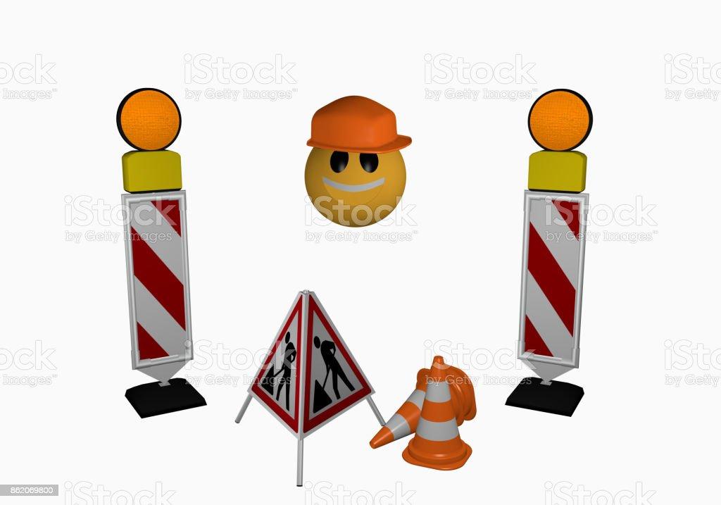 Emoticon mit Leitbaken, Warnlicht, Leitkegel und Aufsteller für eine Baustelle stock photo