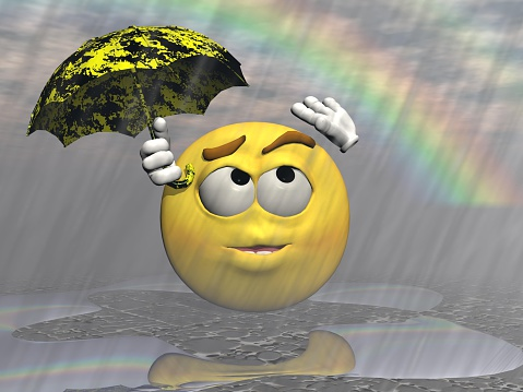 58945a8b46717 Emoticon Rain And Umbrella 3d Render Stock Photo & More Pictures of  Anthropomorphic Smiley Face - iStock