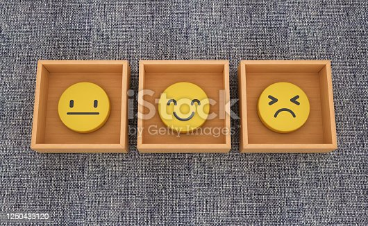 Emoticons Inside Boxes on Blue Carpet - 3D Rendering