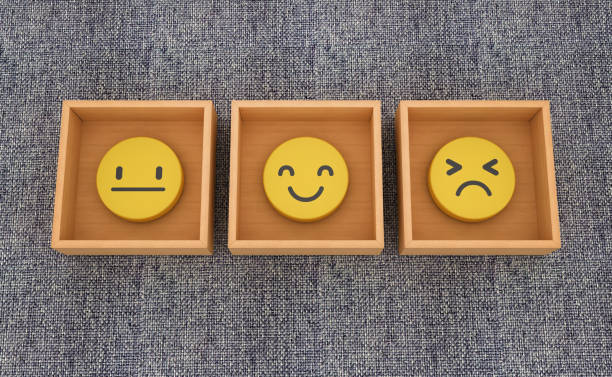 Emoticons Inside Boxes auf blauem Teppich - 3D Rendering – Foto