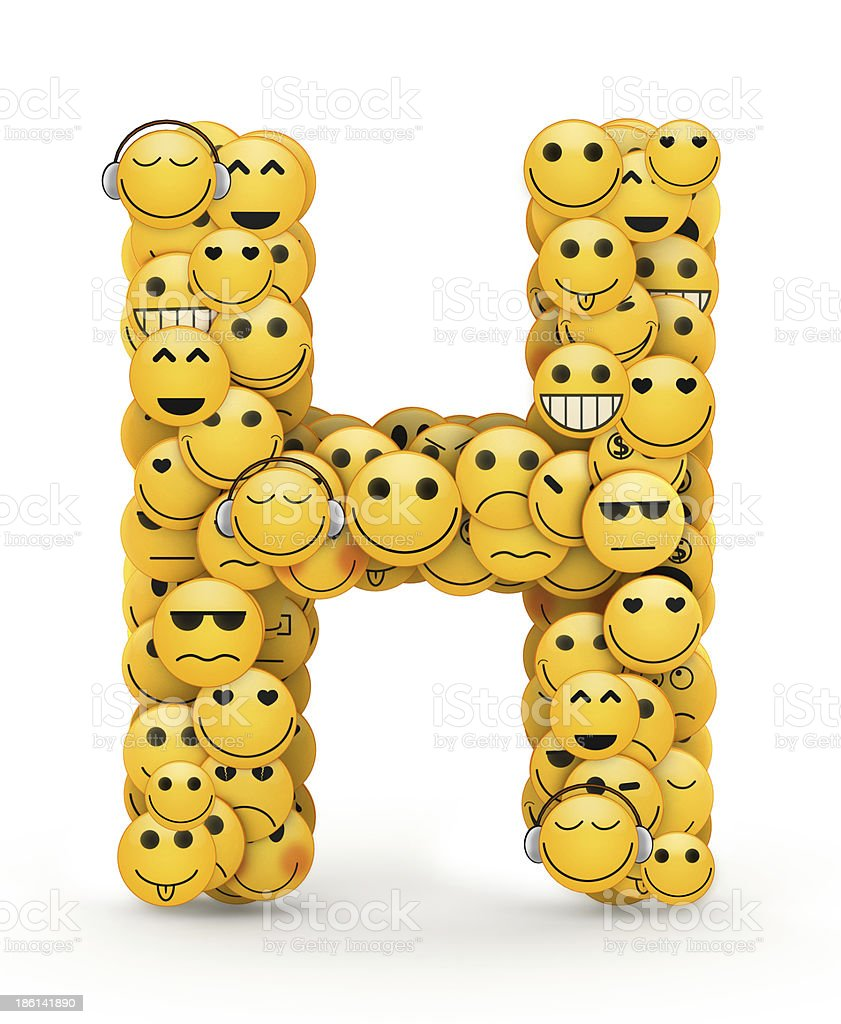 Emoticons letter H stock photo