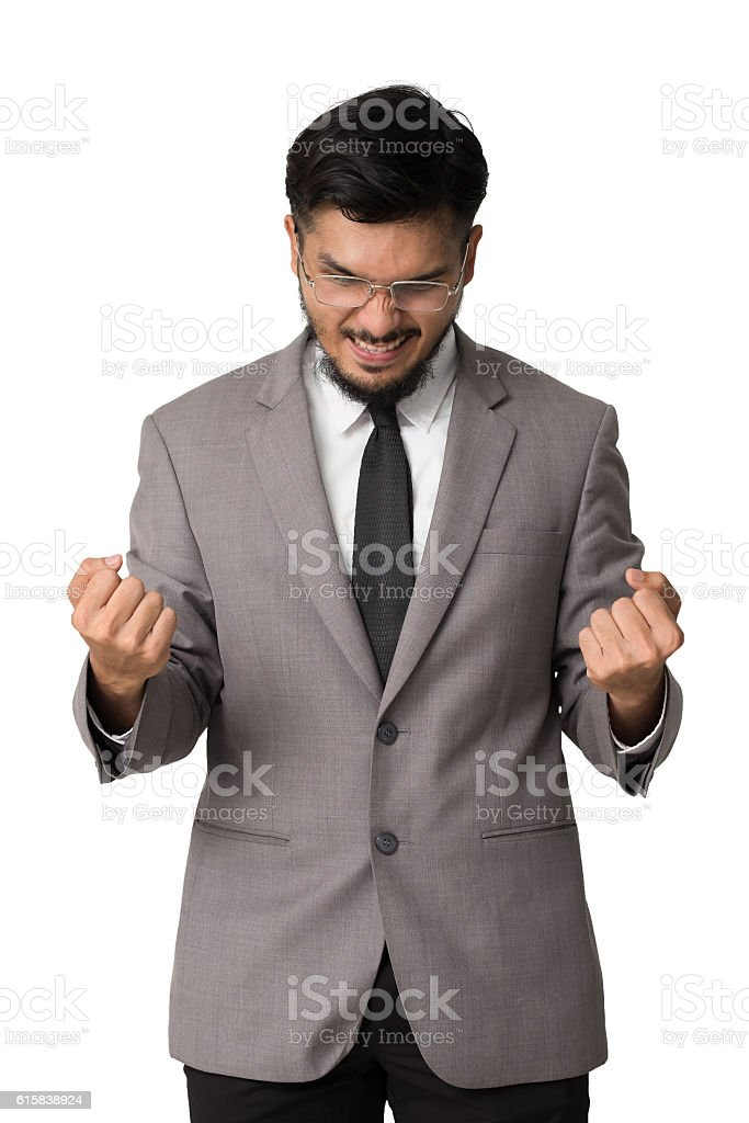 Emotion of businessman with handful, Win, acheive, success concept. stock photo