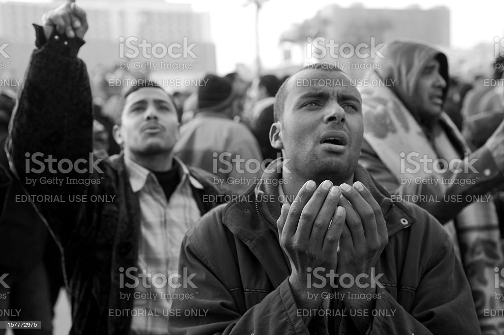 Emotion of protestors in Egypt royalty-free stock photo