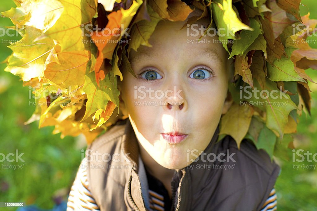 Emotional boy in a wreath from autumn leaves royalty-free stock photo