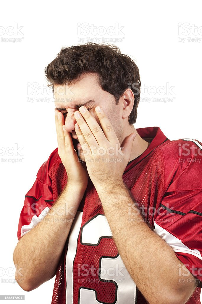 Emotional Football player royalty-free stock photo