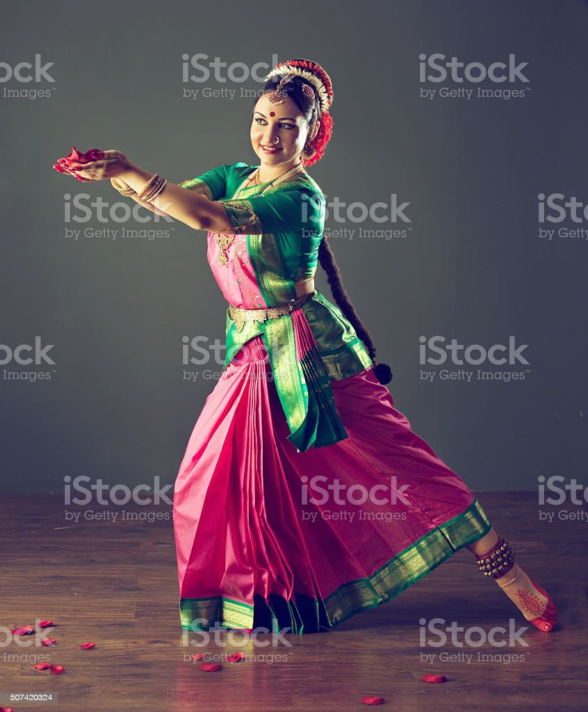 Emotional gestures of indian dance kuchipudi. stock photo