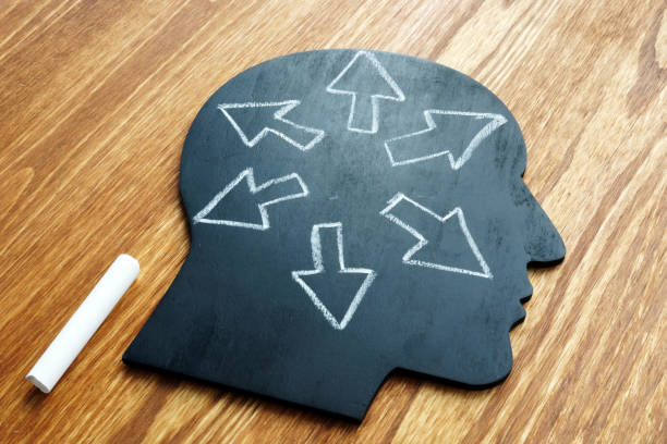 emotional intelligence. head shape and arrows. extrovert concept. - sensory perception stock pictures, royalty-free photos & images