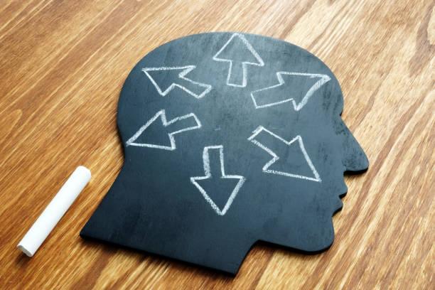 emotional intelligence. head shape and arrows. extrovert concept. - percezione sensoriale foto e immagini stock