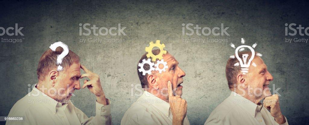 Emotionale Intelligenz. Seitenansicht eines älteren Mannes nachdenklich, denken, Lösung mit Getriebe, Frage, Glühbirne. – Foto