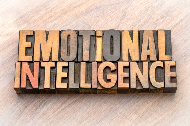 emotional intelligence - word abstract in wood type stock photo