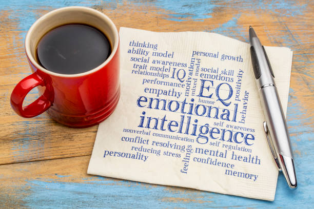 emotionale intelligenz (eq) word cloud - smart stock-fotos und bilder