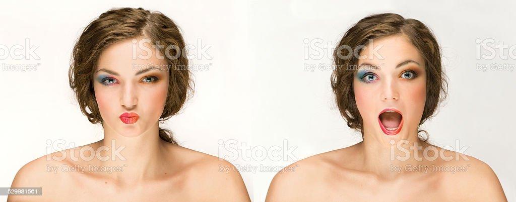 Emotional makeup. stock photo