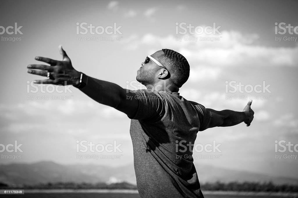 Emotional Man At Seaside stock photo