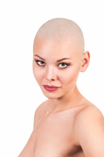 Emotional Portrait Of A Naked Girl Shaved Bald. Stock