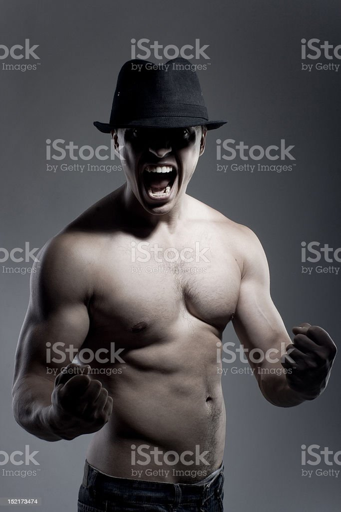 Emotional portrait of strong man royalty-free stock photo