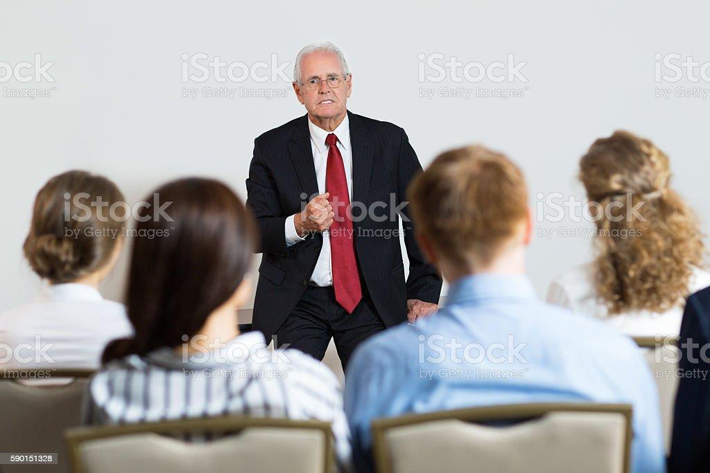 Emotional Speech of Businessman stock photo