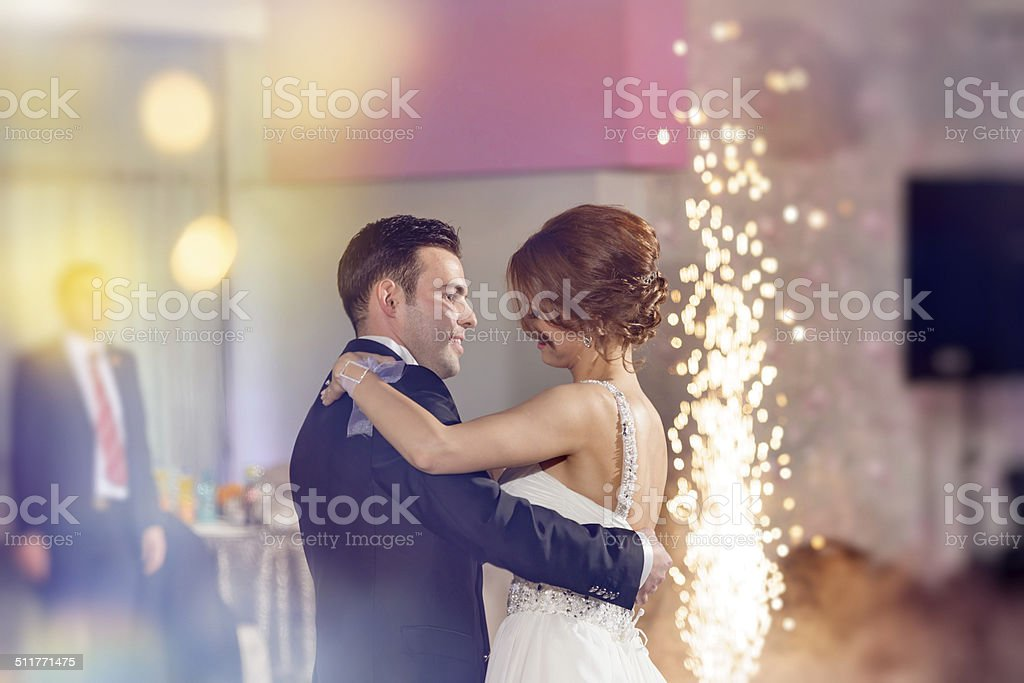 emotions at first dance stock photo