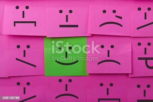 istock Emotions concept. Background of Sticky Notes. 538158788
