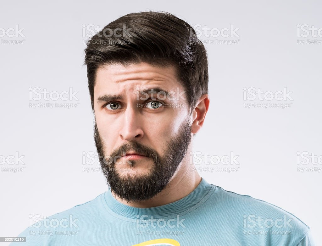 Emotions of bearded man stock photo