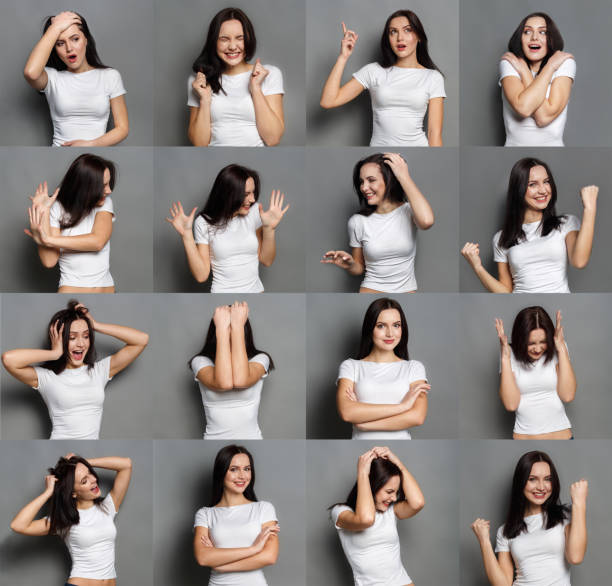 Emotions set of young woman at studio background stock photo