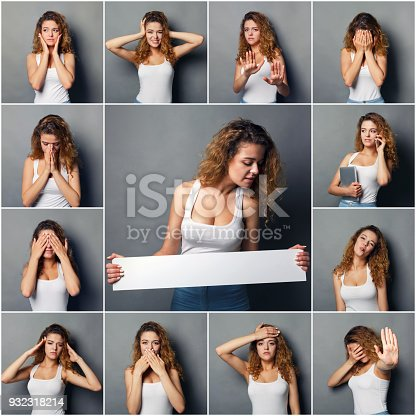 istock Emotions set of young woman at studio background 932318214