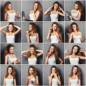 Emotions set of young woman at studio background