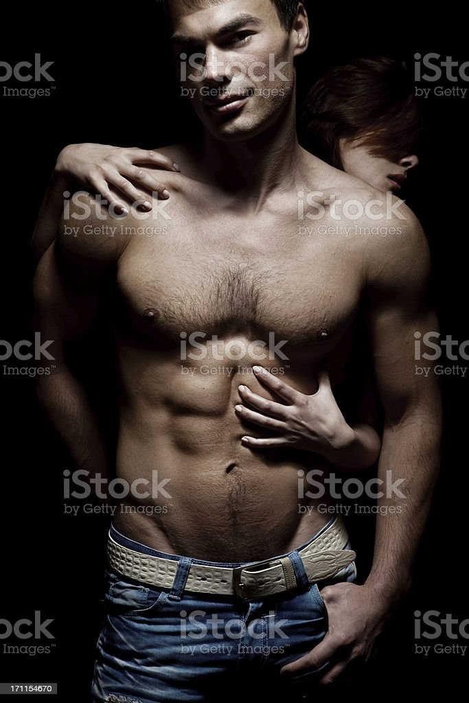 Emotive portrait of a sexy couple stock photo