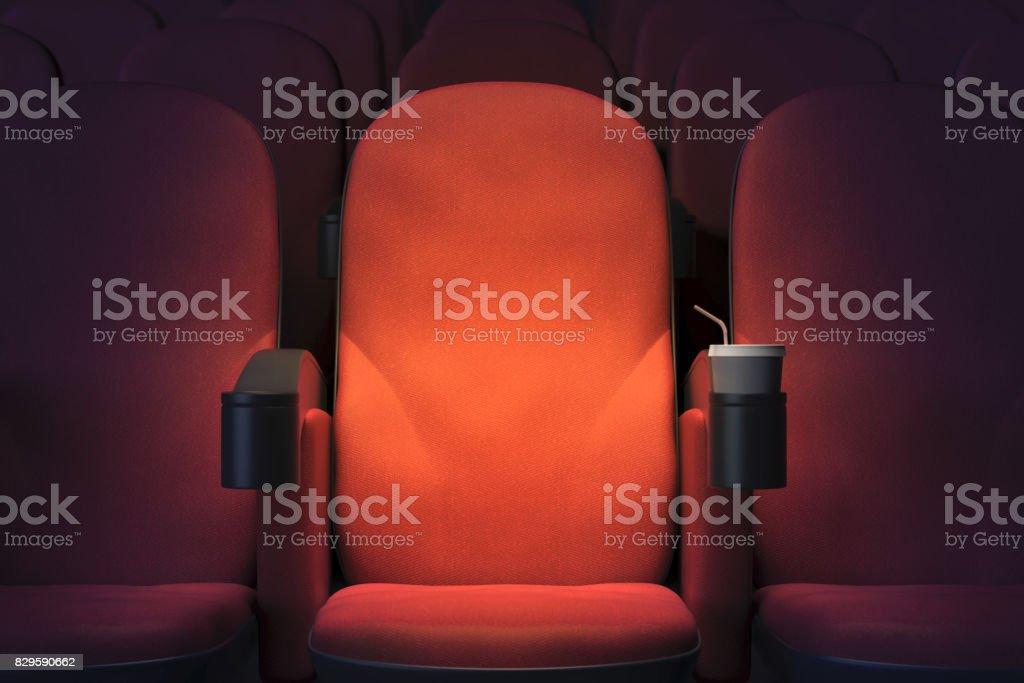 Emoty cinema armchair stock photo