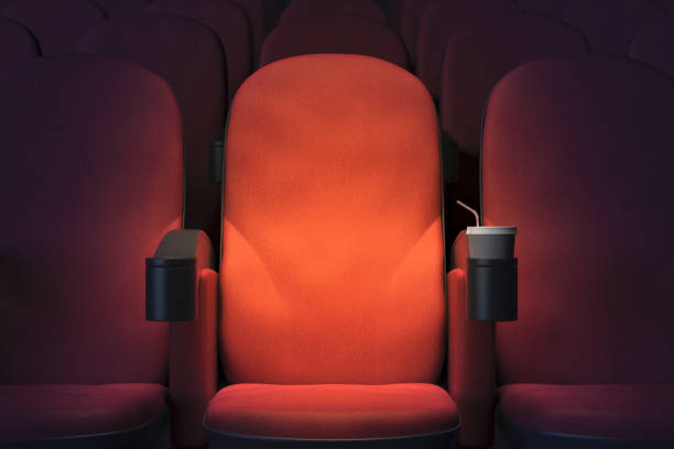 Emoty cinema armchair stock photo
