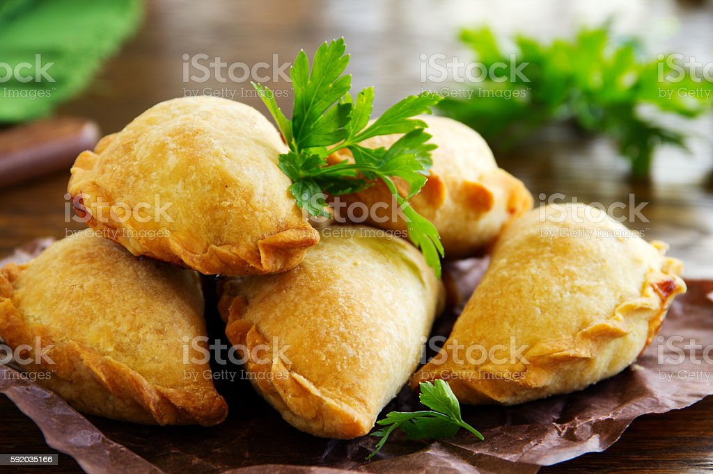 empanadas - Argentine fried meat pies. stock photo