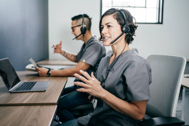Empathic Communication in Virtual Health Care Practice stock photo